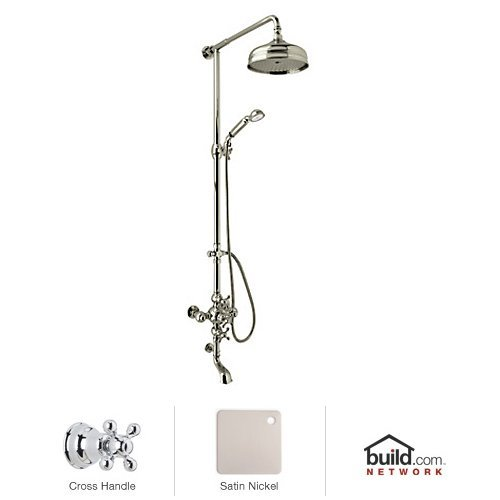 - Rohl AC414X-STN 1300/Centrapc Ac414X Cisal Shower System with Exposed Thermostatic Valve, Shower Head, Satin Nickel