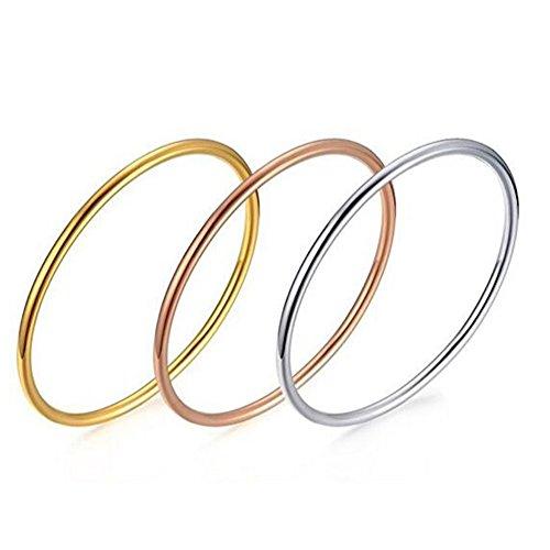 Gold 14k Band Wedding Hoop (UNAPHYO Women's Stainless Steel Tri Color Plain Thin Hoop Infinity Triple Stacking Bangle Bracelets Set)