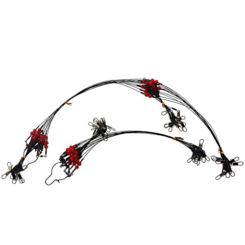 Easy Catch ® 12 Pcs Fishing Rigs 35KG/90LB Tested Stainless Steel Fishing Wire Rigs Leaders Trace with Snaps, Swivel, Red Beads, Arms for Freshwater/saltwater/lake/river Fishing