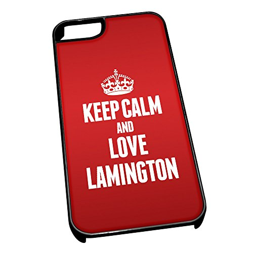 Nero cover per iPhone 5/5S 1210 Red Keep Calm and Love Lamington