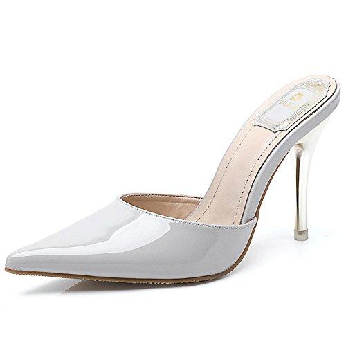 L@YC® Mujeres Sandalias De Verano Charol Zapatillas Cuero Puntas Las SeñOras Finas Con Zapatos TacóN Rojo Vestido Baile alto Gray