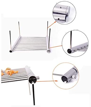 VIGE Pliable Grill Portable 304 en Acier Inoxydable Grill Filet Extérieur Grill Grill Net Grill Grill Extérieur Outil - Argent