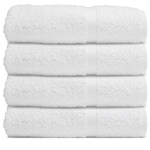 White Cotton Bath Towels for Hotel-Spa-Pool-Gym-Bathroom – Super Soft Absorbent Ring Spun Bathroom Towels – 4 Pack – 27×52 Inch (White)