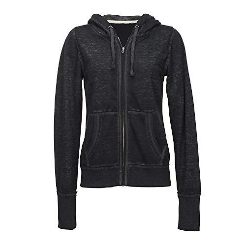 J. America Ladies Zen Full Zip Hooded Sweatshirt (Medium, Twisted Black)