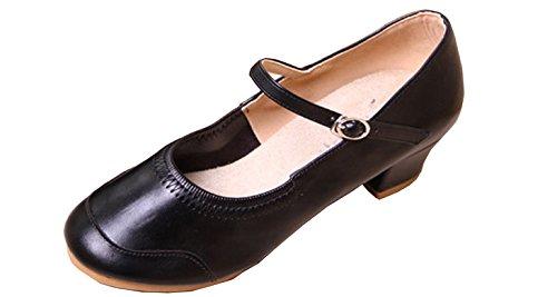 VECJUNIA Damen Fitness Querbügel Spitzschuh Tanzschuhe Ankle Strap Gürtelschnalle Tanzschuhe Modern Dance Schuhe Schwarz