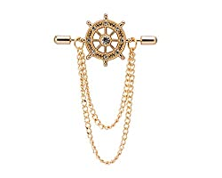 Crystal Ship's Steering Wheel Brooch with Chain Lapel Pin