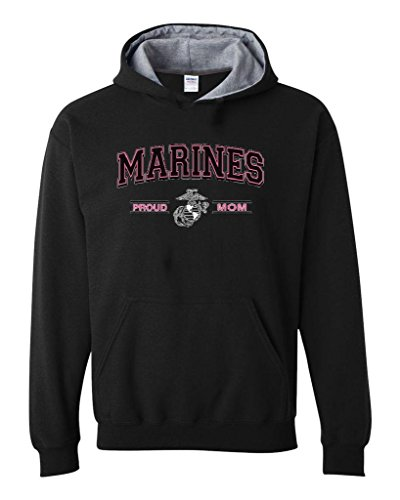 Artix USMC Marines Proud Mom US Marine Corps People Fashion Clothing Mothers Day Gifts Contrast Color Unisex Hoodie X-Large Black Sport Grey
