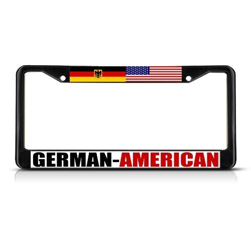 Teisyouhu German American Seal Black Chrome Metal License Plate Cover Auto Tag Sign