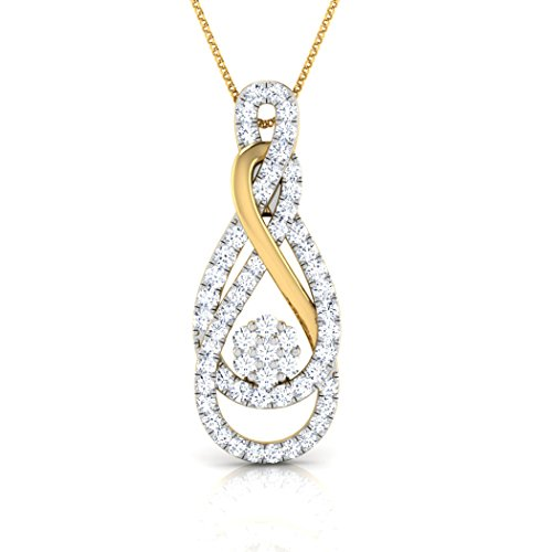 14 K Or blanc 0,35 CT TW Round-cut-diamond (IJ | SI) Pendentif