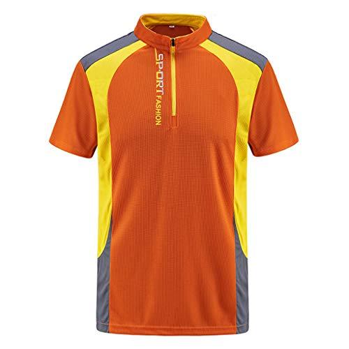 (iHPH7 Polo Shirt Men Regular-Fit Quick-Dry Golf Polo Shirt Mens Summer Casual Zipper T-Shirt Plus Size Sport Fast-Dry Breathable Top Blouse XXL Orange)