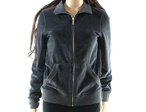 MICHAEL Michael Kors Womens Small Velour Full-Zip Jacket Gray - Michael Kors Free Return
