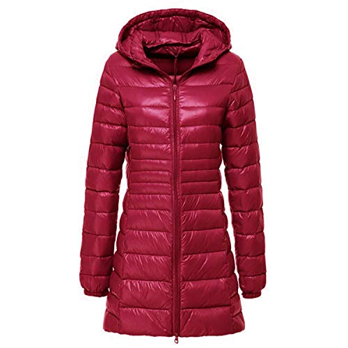 Woman Ultra Light Duck Down Jacket Plus Size Long Overcoat Hooded Indoor Coat Portable -