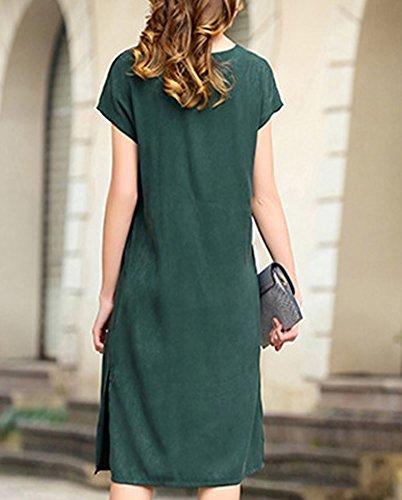 Grün Long Cocktail DISSA Kleider S9919 Knee Einfarbig Übergröße Damen Abendkleid Seide Kleid xXPIw