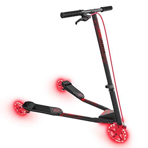 Yvolution Neon Fliker | Scooter de meneo LED autopropulsado con ruedas luminosas para niños Edad +7