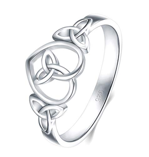(BORUO 925 Sterling Silver Ring Celtic Knot Heart High Polish Tarnish Resistant Eternity Wedding Band Stackable Ring Size 10)