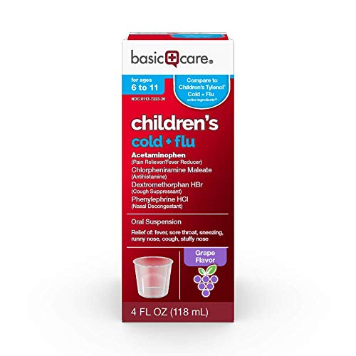 Basic Care Children's Cold & Flu Oral Suspension, Grape Flavor, 4 Fluid Ounce