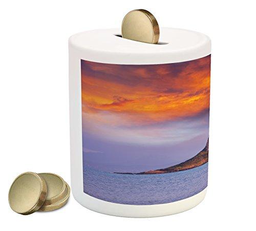Marigold Coins (Hawaiian Piggy Bank by Lunarable, Hawaii Deserted Island Ocean with Mountain Trees Cloudy Photography Print, Printed Ceramic Coin Bank Money Box for Cash Saving, Marigold Lavander)