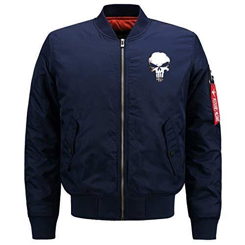 Los De Chaqueta Jacket De Acolchado Modelado Chaqueta De De Lino Cráneo De Chaqueta Bombardero Blau Vuelo Hombres Jacket 1 Larga Manga Delgado Collar Flight tFvxd1qwv