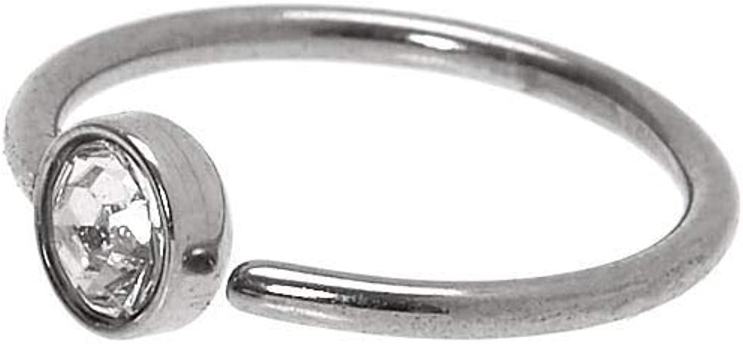 Amazon Com Claire S Girl S Sivler 20g Stone Hoop Nose Ring