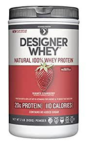 Designer Whey Premium Natural 100% Whey Protein, Summer Strawberry, 2 Pound