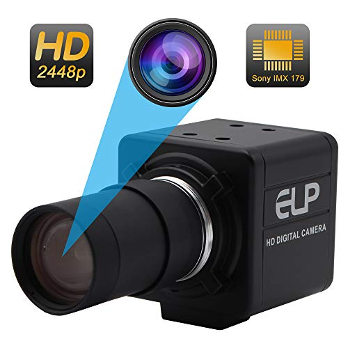 (5-50mm Varifocal Lens USB Camera High Definiton 2448P Webcam Sony IMX179 USB with Cameras,Indoor Outdoor Webcamera,8 Megapixel Web Cam USB Home Nanny Pet Webcamera usb for Android Linux)