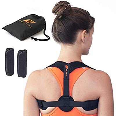 Zonzili Upper Back Posture Corrector – Slim, Adjustable Men and Women Back Brace Home Gym Accessories – Helps with Slouching Shoulder Clavicle Support Neck and Back Pain Relief