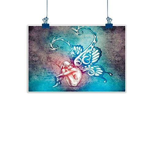 Home Wall Decorations Art Decor Butterflies Decorations,Fairy with Butterfly Wings Renewal Female Rebirth Psyche Lightness of Being,Blue Purple for Boys Room Baby Nursery Wall Decor Kids Room Boys Gif