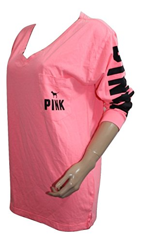 7721ae7d59a0f Victoria s Secret Pink NEW V-Neck Campus Tee Color Orange (Medium) Oversize