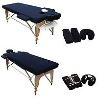 H-ROOT Couverture de Table de Massage. Avec Appui-tête et Accoudoirs (noir) (195 cm x 70 cm)