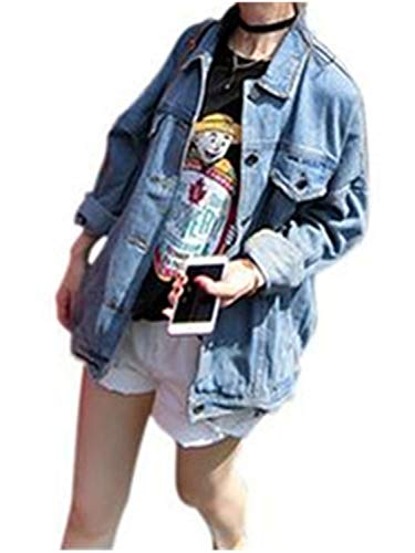 Pragmaticv Autumn Winter Women's Fashion Casual Student Popular Plus Big Pius Size Pure Color Denim Jacket 1