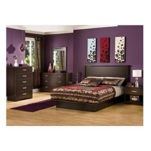 Modern 6-Drawer Bedroom Dresser in Chocolate Wood Finish Table Nightstand End Storage Bedside MyEasyShopping