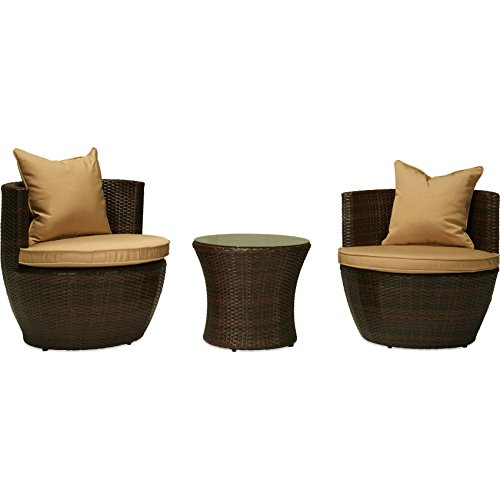 Portofino Media (Incadozo 3-Piece All-Weather Wicker Patio Furniture Conversation Set, Dark Brown)
