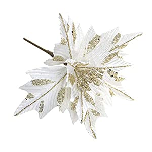 Nuxn 6pcs Silk Poinsettias Artificial Christmas Flowers Glitter Poinsettia Christmas Tree Ornaments Artificial Wedding Christmas Tree Flower Wreath Decorations Picks White