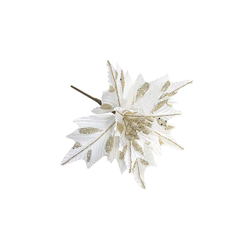 silk flower arrangements nuxn 6pcs silk poinsettias artificial christmas flowers glitter poinsettia christmas tree ornaments artificial wedding christmas tree flower wreath decorations picks white
