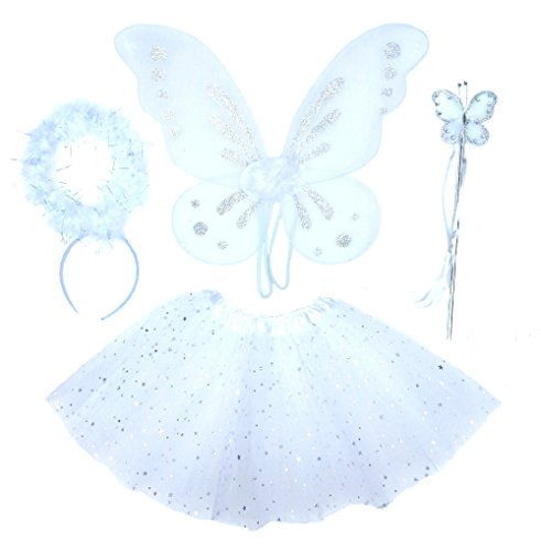 Girls 4 Piece White Angel Fairy with Wings, Butterfly Wand & Halo -