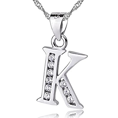 Sojewe Women 925 Sterling Silver Alphabet Letter L Necklace Inlay Cubic Zirconia Pendant Platinum Plated Chain 40-45cm/15.7-17.7in qdAbxq1fFY