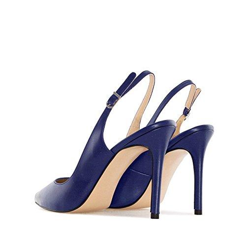 Marine Bleu à Ouverte L'Arrière Chaussure EKS Femme 1w7YqcBHaW
