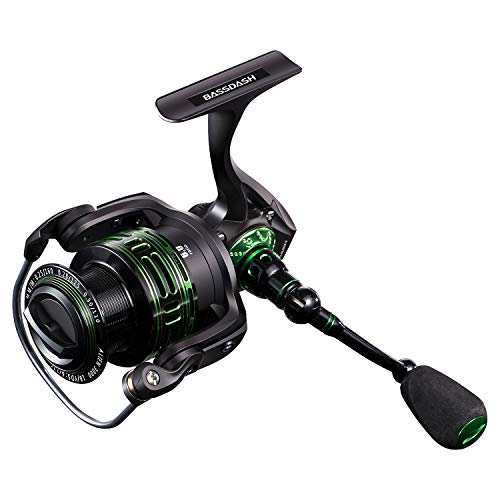 (Bassdash Alien All Carbon Lightweight Spinning Fishing Reel, BlueMagic Reel with Aluminum Body & Carbon Rotor, Corrosion Resistant Bearings & Carbon Fiber Drag, in Sizes 1000, 2000, 3000, 4000, 5000)