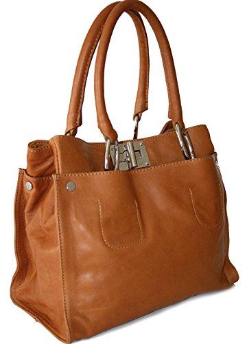 fa77075a4499a ital echt Leder Luxus Handtasche Damentasche Shopper Tasche Ledertasche  cognac L  Amazon.de  Bekleidung