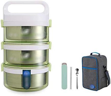 キッズ大人のランチボックスに適しステンレス保温ポット2200ミリリットル、コンパクトサイズホームオフィスランチボックス、 JINHAN (Color : Green)
