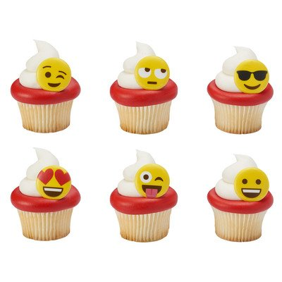 Emojis Happy Face Emoticos Cupcake Rings Decoration Cake Yellow x24 by Deco