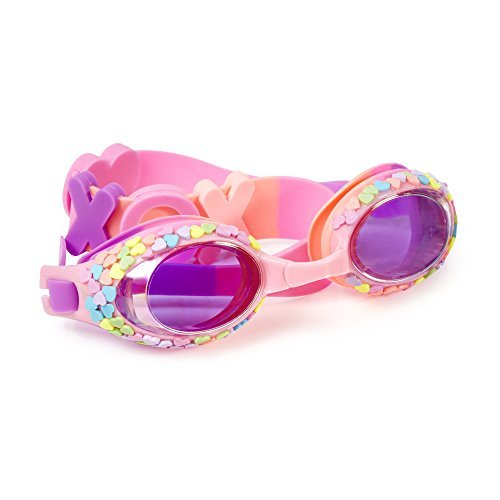Swimming Goggles For Girls - Candy Hearts  Kids Swim Goggles By Bling2o (Hugs & Kisses Pink)