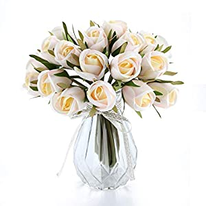 T4U White Artificial Flowers Silk Faux Flowers Bouquet Fake Roses with Stems in Bulk for Flowers Arrangement Wedding Bouquet Table Centerpieces Home Garden Party Decoration (1 Pack,18pcs/Pack) 105