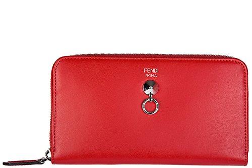 Fendi women's wallet leather coin case holder purse card bifold zip around red