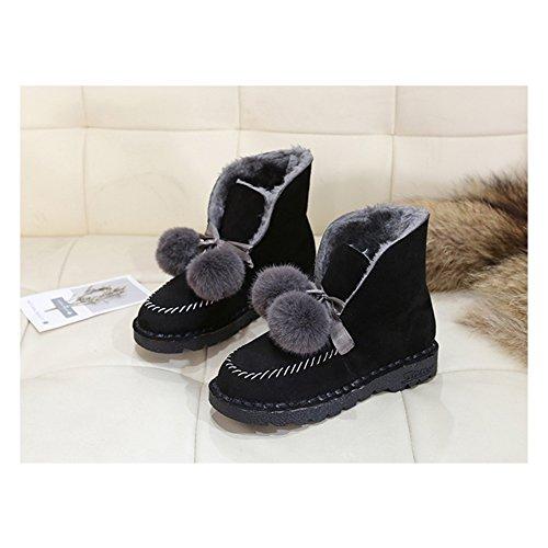 Btrada Womens Pom Short Ankle Platform Fur Lined Fluffy Snow Pom Booties Winter Boots Antiskid Black Flat rrqwxOd