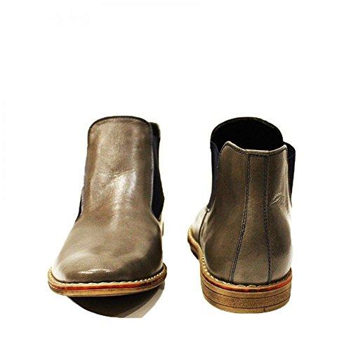 Modello Basilio - Handgemachtes Italienisch Leder Herren Grau Stiefeletten Chelsea Stiefel - Rindsleder Weiches Leder - Schlüpfen
