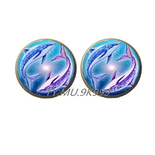 Yao0dianxku Dolphin Earrings, Dolphin Jewelry, Large Dolphin Earrings, Dolphin Stud Earrings, Charm Earrings, Dolphin Charm.Y049 (2)