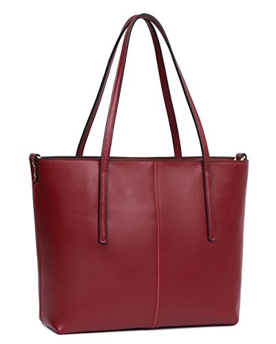 Hot Designer Bags - Obosoyo Women's Handbag Genuine Leather Tote Shoulder Bags Soft Hot Wine-red-Small