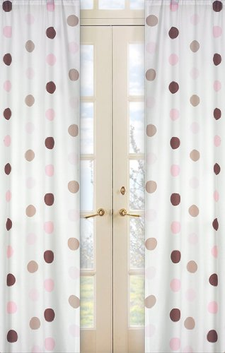 - Pink and Brown Mod Dots Window Treatment Panels -Set of 2