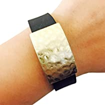 FUNKtional Wearables Roxanna Hammered Metal Charm for Garmin Vivofit, Gold